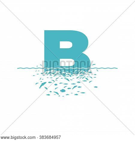 Letter B With The Effect Of Destruction. Dispersion. Fishes.