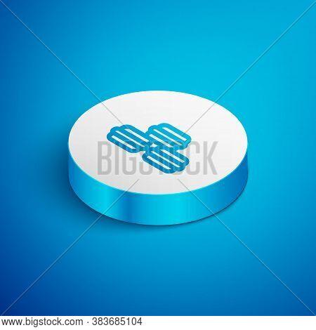 Isometric Line Macaron Cookie Icon Isolated On Blue Background. Macaroon Sweet Bakery. White Circle
