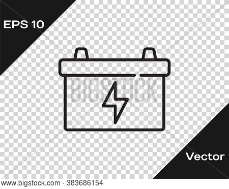 Black Line Car Battery Icon Isolated On Transparent Background. Accumulator Battery Energy Power And