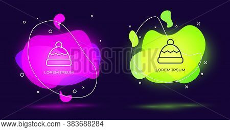 Line Beanie Hat Icon Isolated On Black Background. Abstract Banner With Liquid Shapes. Vector