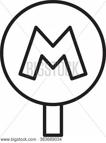 Black Line Metro Or Underground Or Subway Icon Isolated On White Background. Vector