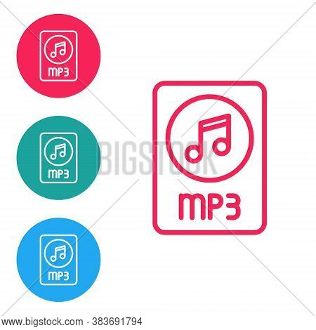Red Line Mp3 File Document. Download Mp3 Button Icon Isolated On White Background. Mp3 Music Format