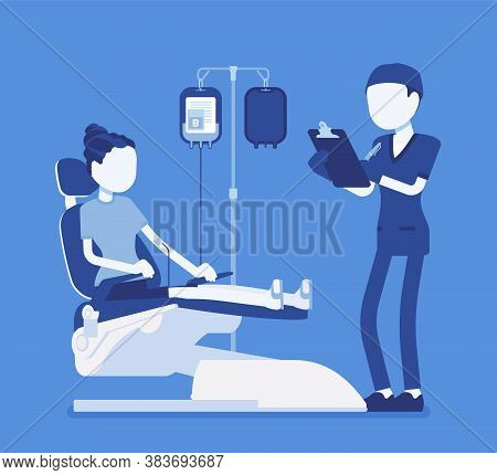 Blood Donation For Medical Bank, Female Donor Or Patient Transfusion. Male Doctor And Young Healthy