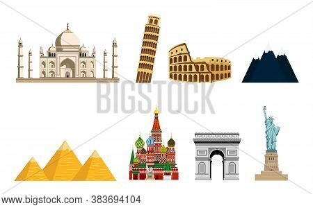 Travel To World. Tourist Attractions. Road Trip. Pyramids, Mountains, Colosseum, Arc De Triomphe, Re