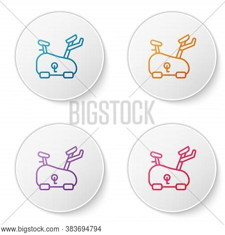 Color Line Stationary Bicycle Icon Isolated On White Background. Exercise Bike. Set Icons In Circle