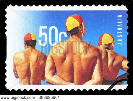 Australia - Circa 2007:a Cancelled Postage Stamp From Australia Illustrating The Year Of The Lifesav