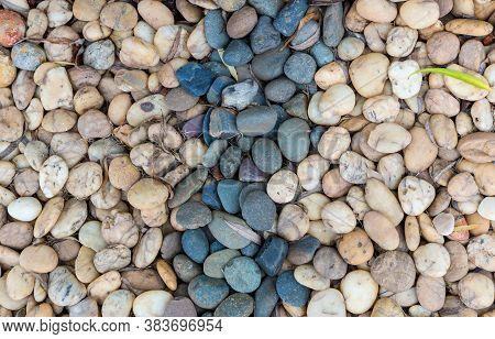 Sea Pebbles. Small Stones Gravel Texture Background.pile Of Pebble. Color Stone In Background.