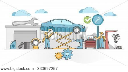 Car Service Work For Vehicles Mechanic Maintenance And Fix Outline Concept. Annual Automobile Check