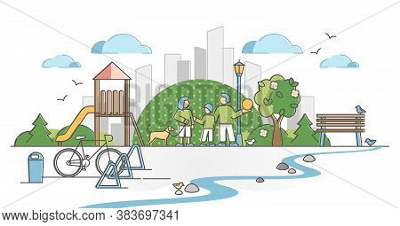 Urban Park With City Green Zone For Family Nature Recreation Outline Concept. Public Place For Dogs