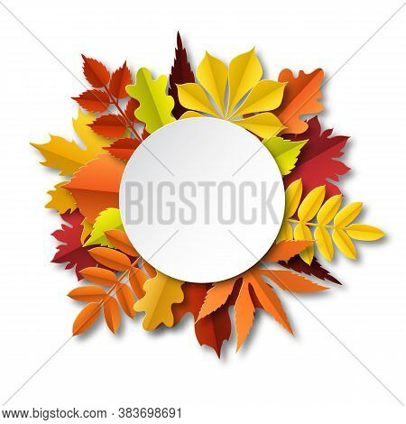 Fall Leaves Composition. Paper Cut Frame With Autumn Falling Yellow Orange Red Foliage, Seasonal Flo