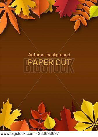 Fall Leaves Banner. Autumn Border, Paper Cut Frame Yellow Orange And Red Leaf. Thanksgiving Gold Fol