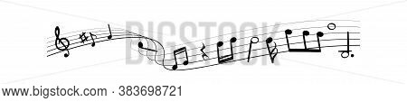 Music Notes Silhouettes. Monochrome Abstract Classic Melody, Song, Sound Or Audio On Black Line Wave