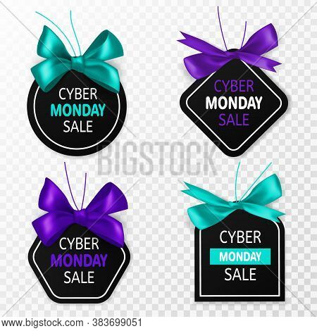 Cyber Monday Sale Labels. Promotion Price Tags With Blue And Purple Bow And Silk Ribbon. Big Sell-ou