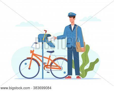 Postman Deliver Mail. Mailman In Blue Uniform And Bicycle With Bag Delivering Letters In Mailbox, En