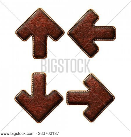 Set of symbols up, to down arrow and left, right arrow made of leather. 3D render font with skin texture isolated on white background. 3d rendering
