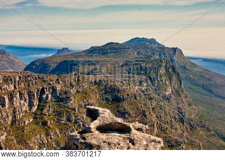 birds eye view of the Table Mountain in city of Cape Town in South Africa