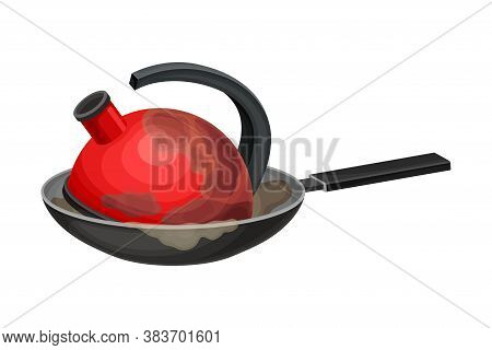 Stack Of Dirty Dishes And Utensils With Kettle And Frying Pan Vector Illustration