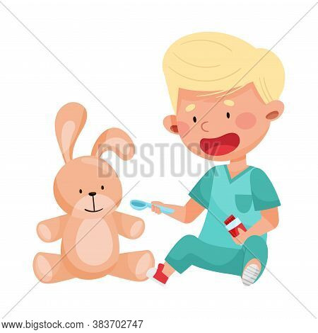Careful Little Boy In Medical Wear Treating Toy Hare Vector Illustration