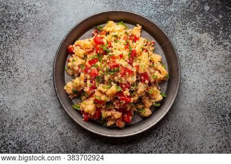Middle Eastern And Mediterranean Traditional Vegetable Salad Tabbouleh, From Above. Arab Snack Or Ap