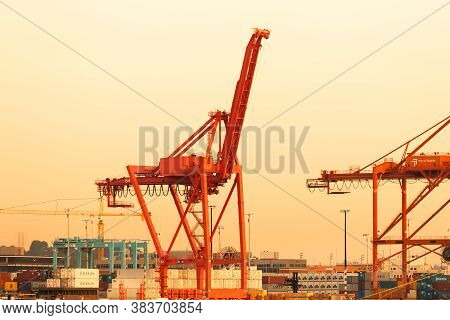 Seattle, Washington State, United States - July 06, 2012: Tower Cranes At The Port Of Seattle At The