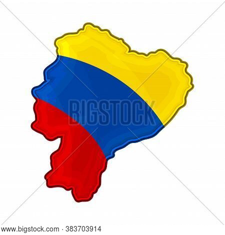 Ecuador Border Or Map With National Colors Vector Illustration
