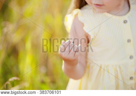 Cute Little Girl Having Ladybug On Her Hand. Close-up View Of Little Girl Wearing Headband Playing W