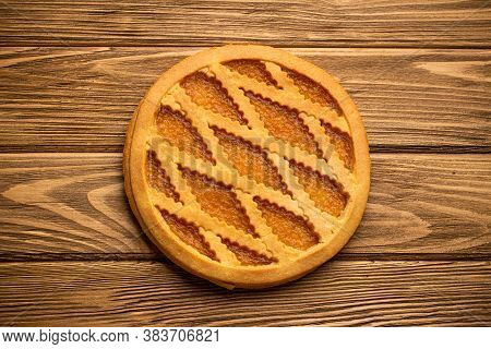 Pumpkin Pie On Rustic Wooden Background. Traditional American Autumn, Thanksgiving And Halloween Swe