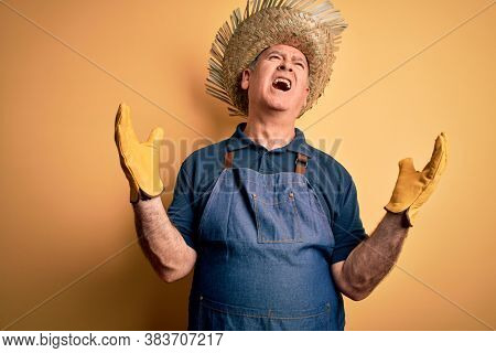 Middle age hoary farmer man wearing apron and hat over isolated yellow background crazy and mad shouting and yelling with aggressive expression and arms raised. Frustration concept.