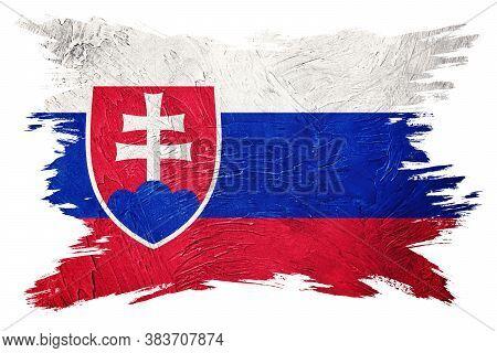 Grunge Slovak Republic Flag. Slovak Republic Flag With Grunge Texture. Brush Stroke.