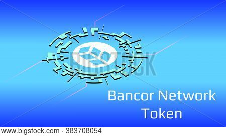 Bancor Network Token Bnt Isometric Token Symbol Of The Defi Project In Digital Circle On Blue Backgr