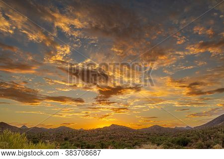 Sunset Over A Mountain Landscape In The Sonoran Desert Of Arizona