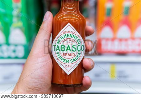 Tyumen, Russia-july 12, 2020: Tabasco Sauce Bottle Of The Original Red Sauce, The Products In The Hy