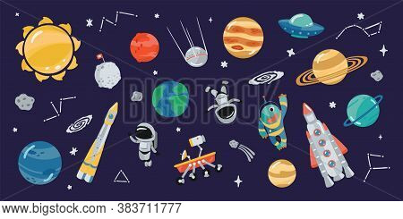 Collection Of Space Icons In Cartoon Style. Clipart Of Various Elements For Your Design. Illustratio