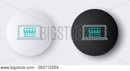 Line Shopping Building On Screen Laptop Icon Isolated On Grey Background. Concept E-commerce, E-busi