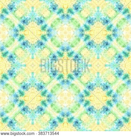 Rainbow Summer Pattern.  Blue And Yellow Textile Print. Asian Backdrop.  Multicolor Natural Ethnic I