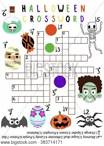 Halloween Crossword For Kids With Answer Vector. Funny Educational Halloween Crossword With Skeleton