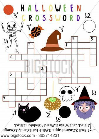 Amusing Halloween Crossword For Kids. Stock Vector Illustration. Ten Word Halloween Themed Crossword