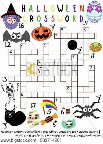 Funny Halloween Crossword For Kids Stock Vector Illustration. Halloween Crossword With Wizard, Bat,