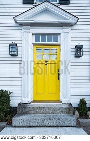 Entrance Of A Typical Residential House In Newburyporth Ma