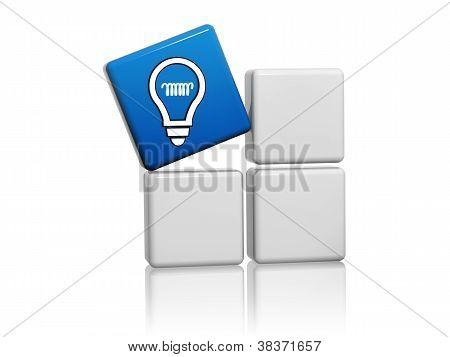 Blue Cube With Idea Symbol Like Light Bulb Icon On Boxes