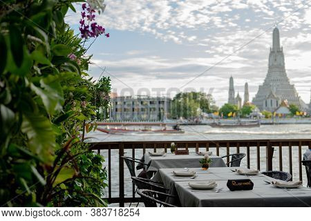 Bangkok, Thailand - July 29, 2019: Unidentified Reserve A Table Eating At The Bar Restaurant Beside