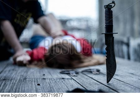 Domestic Violence Against A Woman, Sexual Abuse With A Man Attacking To A Scared Woman, Stop Violenc