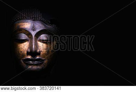 Bangkok, Thailand - Feb 23, 2019: Close Up Of Head Of Buddha, Antique Bronze Buddha Face, National M
