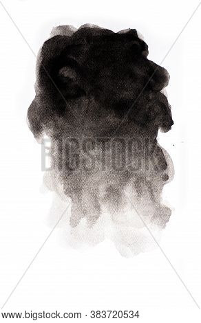 Abstract Black Watercolor On White Background, Abstract Watercolor Background, Vector Illustration