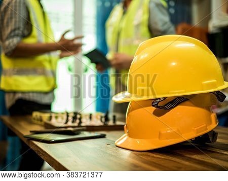 Yellow Hard Safety Helmet Hat For Safety Project Of Workman As Engineer Or Worker, In The Office, Sa