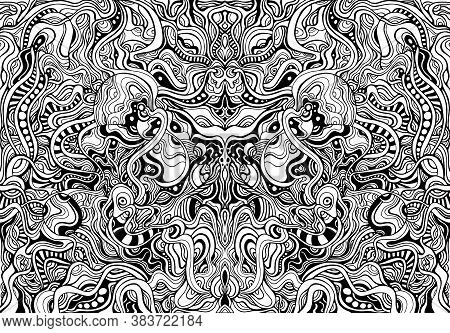 Black And White Shamanic Abstract Symmetrical Psychedelic Ornaments Coloring Page. Vector Decorative