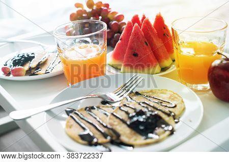 Morning Breakfast In Bed. White Tray Orange Juice