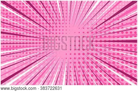 Light Candy Pink Striped Retro Comic Background With Dotted Halftone Corners. Cartoon Bright Party R