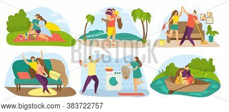 Couples People In Love, On Date Vector Illustrations Set. Loving Man And Woman Hug, Embrace And Kiss