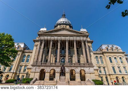 August 25, 2020 - Springfield, Illinois, USA: The Illinois State Capitol. The current building is the sixth to serve as the capitol building since Illinois was admitted to the United States in 1818.
